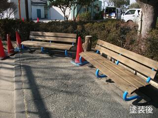 福田第一公園ベンチ脚塗装作業 その4